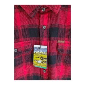 Orvis Red Black Plaid Flannel Shirt Extra Large